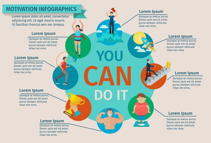 Insieme di infographics di motivazione vettore