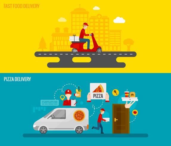 Bandiere di consegna di fast food e pizza