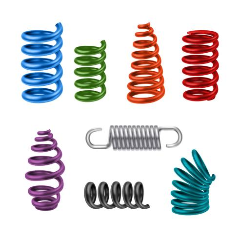 Realistic Metal Springs Colored vector