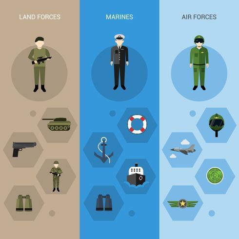 Bannières militaires verticales vecteur