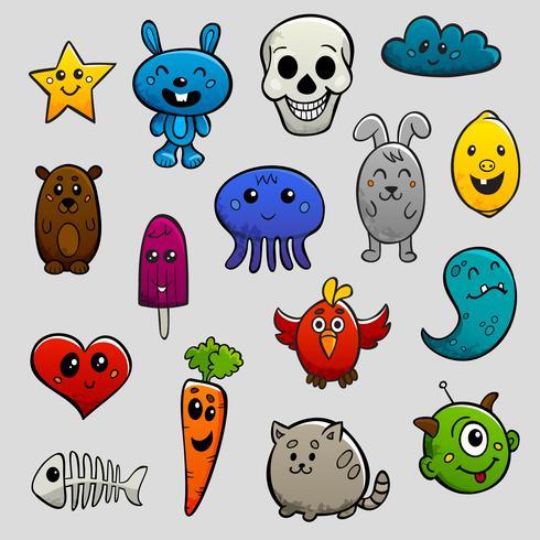 Conjunto de ícones plana de personagens de graffiti