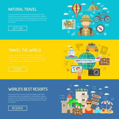 Travel Flat Horizontal Banner Set
