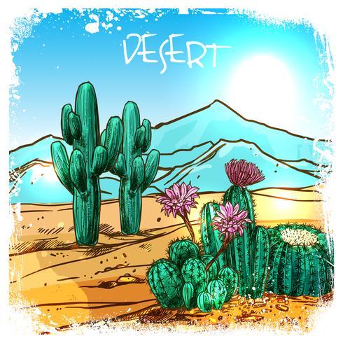 Cactus En Bosquejo Del Desierto vector