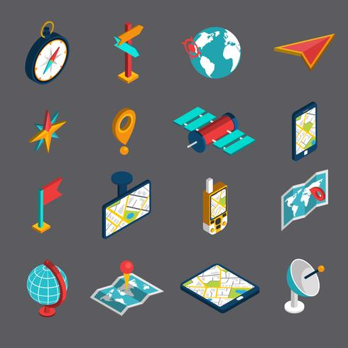 Conjunto de iconos isométricos de navegación vector