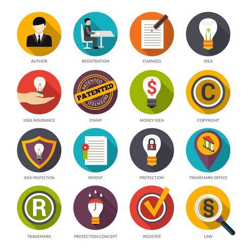 Iconos de protección de idea de patente vector
