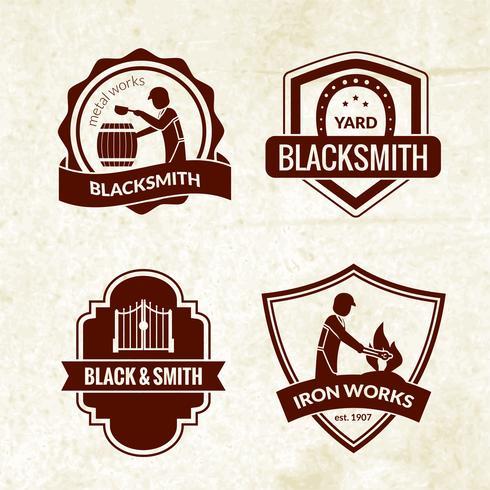 Blacksmith emblemen Set vector