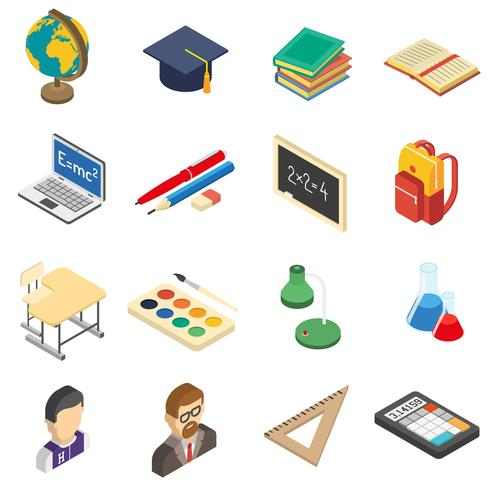 School isometric icons set vector