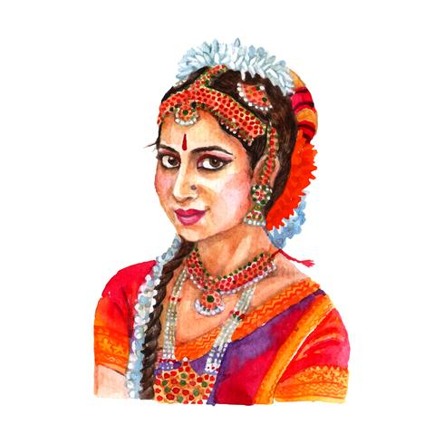 Indian woman portrait watercolor illustration vector