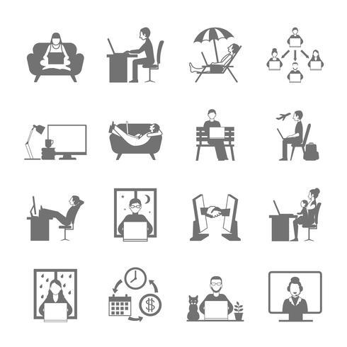 jeu d'icônes plat freelance vecteur