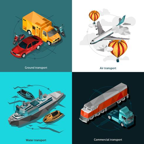 Transporte Low Polygonal Icons Set