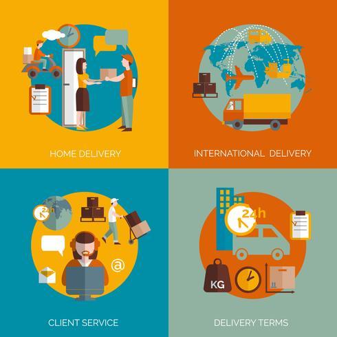 Logistikleveranskoncept 4 platta ikoner