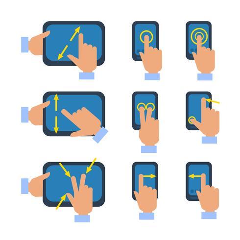 Jeu d'icônes de gestes écran tactile vecteur