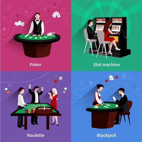 Människor I Casino Set vektor