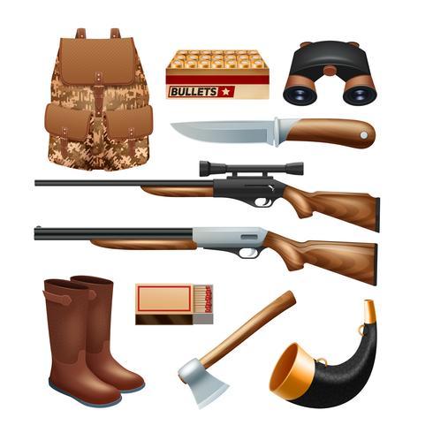 Jachtpistool en apparatuur pictogrammen instellen