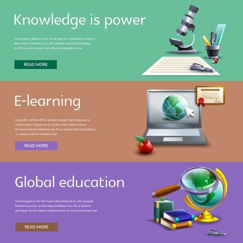 Utbildning och studie banners uppsättning
