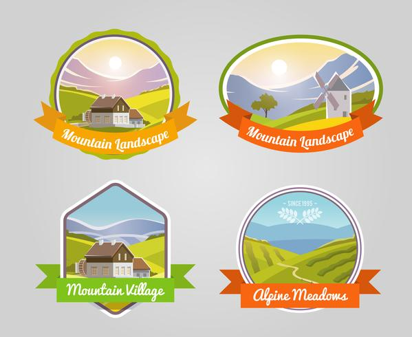 Etiqueta de paisaje de montaña vector