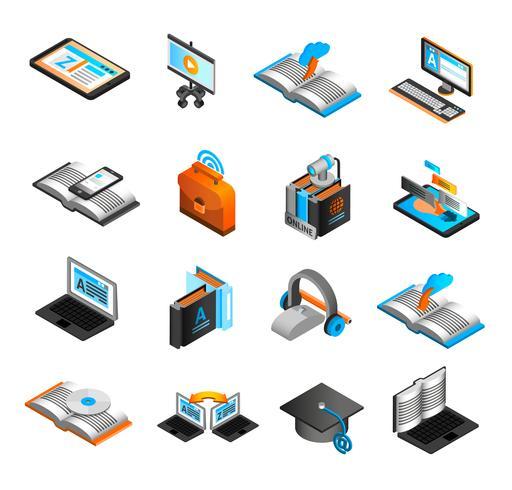 Conjunto de iconos isométricos de e-learning vector
