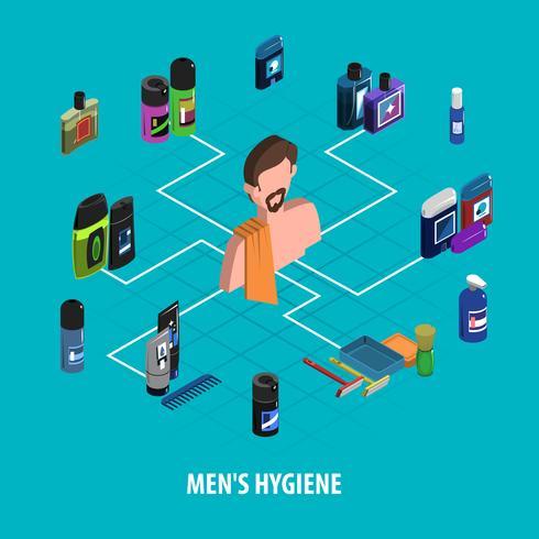 Mann-Körperpflege-isometrisches Konzept