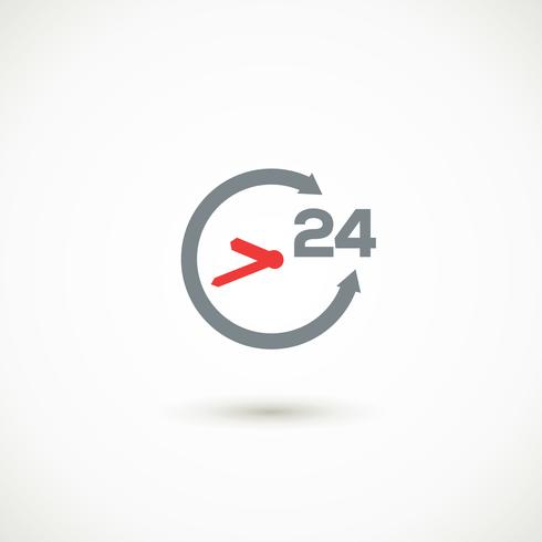 Service 24 hours shadow icon