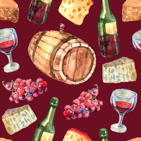 Wine Watercolor Seamless Pattern  vector