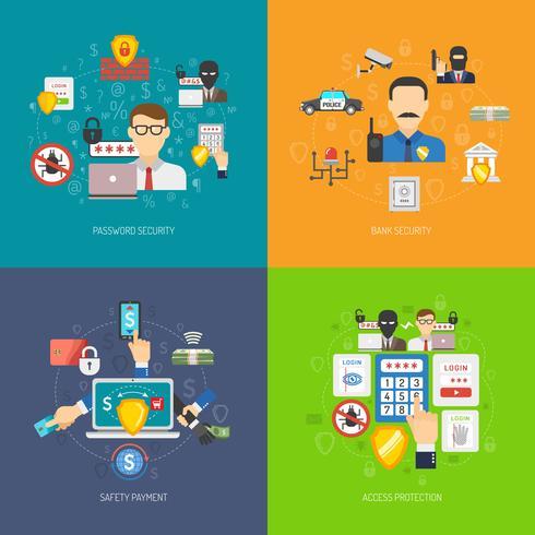 Bank säkerhet 4 platta ikoner banner