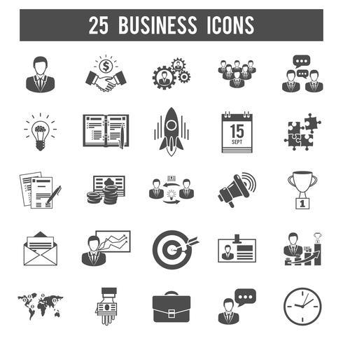 Conjunto de iconos negro de inicio de negocios