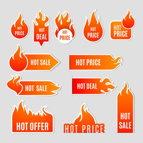 Conjunto de iconos planos de venta de fuego