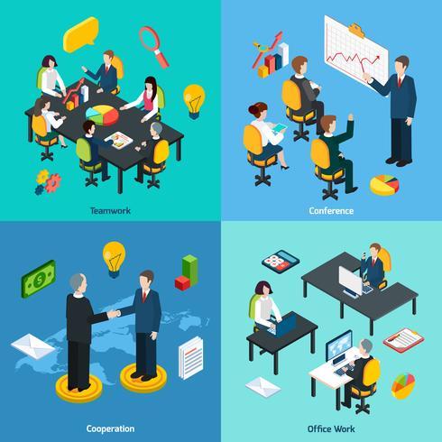 Concepto de negocio 4 iconos isométricos cuadrados
