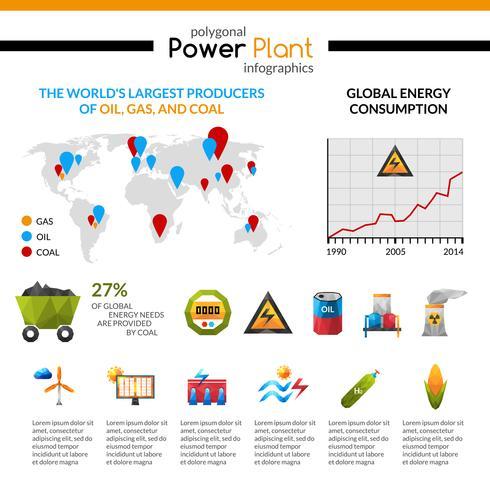 Kraftwerk und Mineral Extraktion Infographik vektor