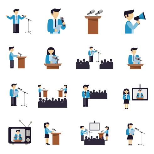 Public Speaking Icons Flat vector