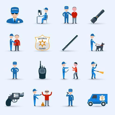 Set di icone di servizio di guardia di sicurezza