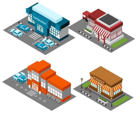 Supermarket stores buildings isometric icons set