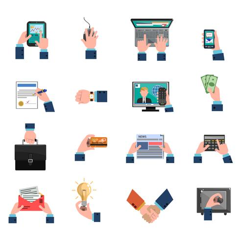 Business Hands Icons Flat Set