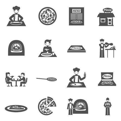 Pizzeria und Pizza Delivery Icons Set