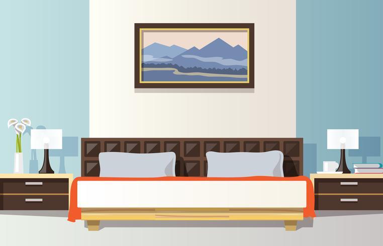 Illustrazione di camera da letto piatta vettore