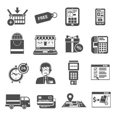 Conjunto de ícones on-line preto