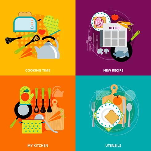 Concepto de cocina 4 iconos planos cuadrados vector