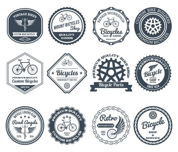 Conjunto de emblemas de ciclismo preto