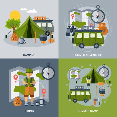 Camping platt ikoner Set vektor