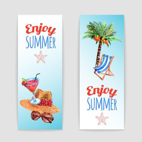Conjunto de banners de viajes de vacaciones tropicales
