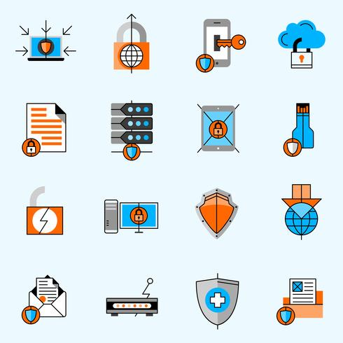 Data Protection Line Icons Set vector