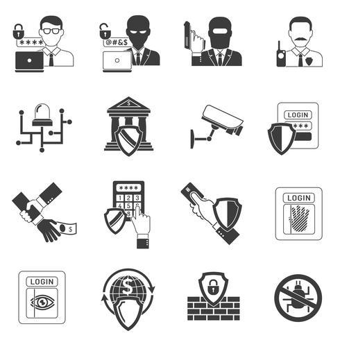 Conjunto de iconos de seguridad de banco negro