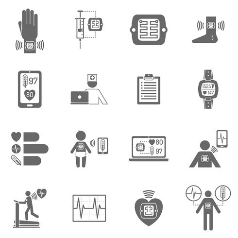 Wearable smart electronic patch flat icons