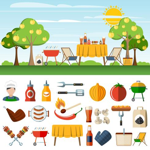 Barbecue picknick pictogrammen compostion banners vector