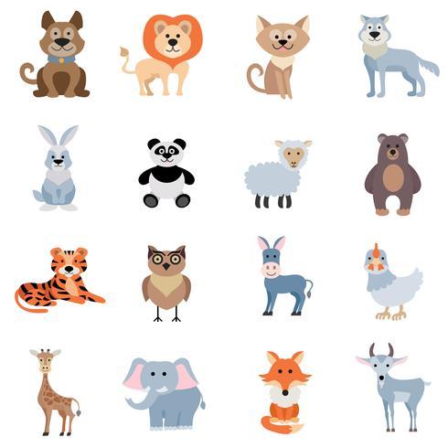 Conjunto de animales salvajes y caseros