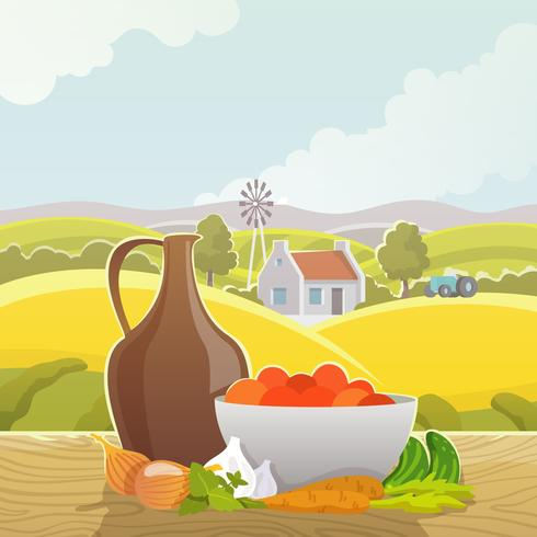 Affiche illustration abstraite paysage rural