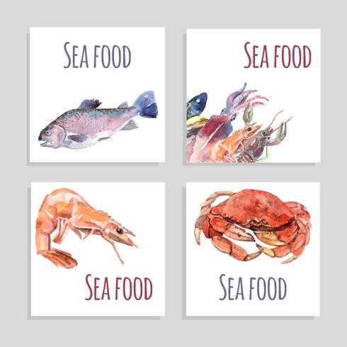 Conjunto de Banners de acuarela de mariscos