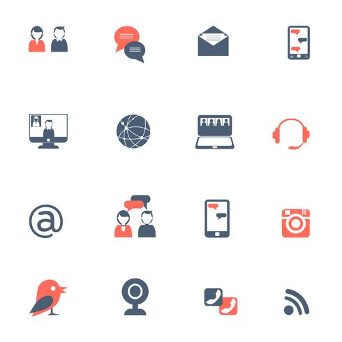 Social network black red icons set
