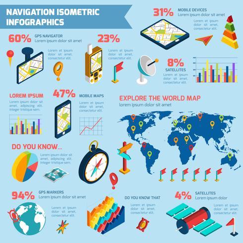 Navigering infografisk isometrisk layout utskrift