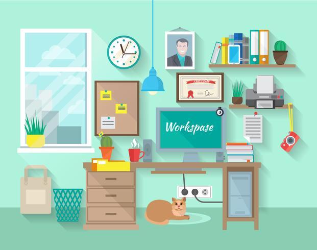 Werkplek in de kamer